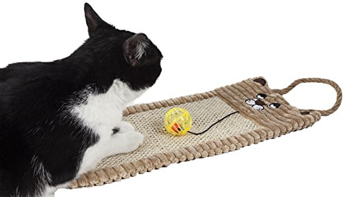 PET LIFE Eco-Natural Sisal & Jute Hanging Carpet Kitty Cat Scratcher Lounge with Toy, One Size, Brown