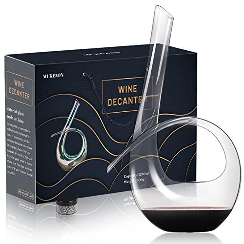 WYK Decanter per vino rosso + Perline di pulizia 1240 ml, 6 forme di decanter per vino rosso soffiato a mano, vetro trasparente di alta qualità, adatto per matrimoni, anniversari, Natale