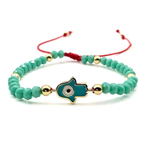 Protection Evil Eye Bracelet - Lucky Hamsa Hand Enameled Charm - Hand Made Adjustable Turquoise Crystal Bead Jewelry - Best Kabbalah Red String for Women
