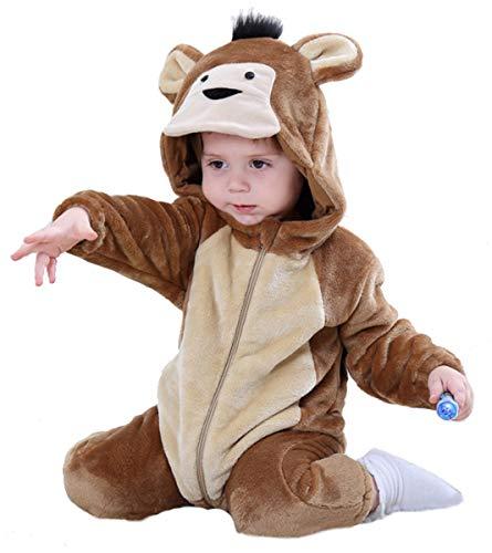 Doladola Mono de bebé con Capucha Mono de Dibujos Animados Animal Romper Pijama (Mono, 100(Altura:80-90cm/1.5-2 años))