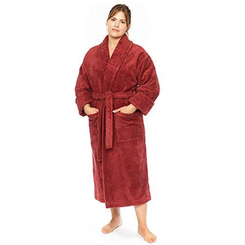 Classic Turkish Towels Luxury Terry Cloth Hotel Bathrobe - Premium 100% Turkish Cotton Robe Unisex (Night Red, Small)