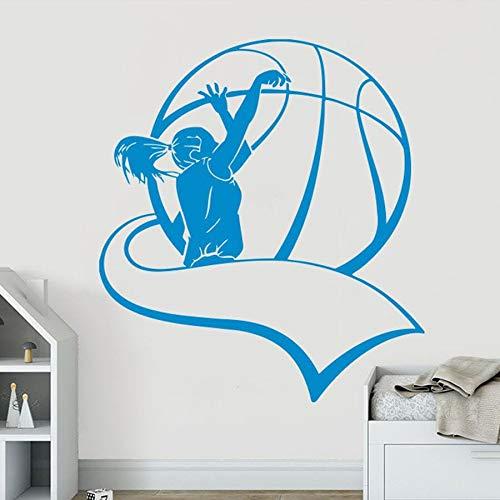Calcomanía de pared de baloncesto, pegatina de vinilo para deportes, dormitorio de niños, niña, habitación para adolescentes, sala de baloncesto, diseño de interiores, mural de arte creativo