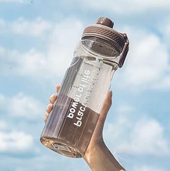Gourde sport d'eau de 1,5 l, Gourde d'eau de vélo, sans BPA, étanche, unisexe pour la course, le cyclisme, le travail et la salle de sport, bouteille eau d'eau avec affichage en millilitres