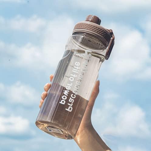 Botella De Agua de 1,5 litros, Botella de agua deportiva con indicador de mililitro, botella bicicleta de agua a prueba de fugas sin BPA, unisex para correr, andar en bicicleta, trabajar y gimnasio