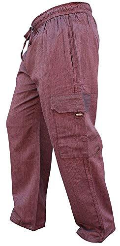 SHOPOHOLIC FASHION Homme Poche latérale léger Coton bohème Hippie Pantalon - Marron, XXX-Large