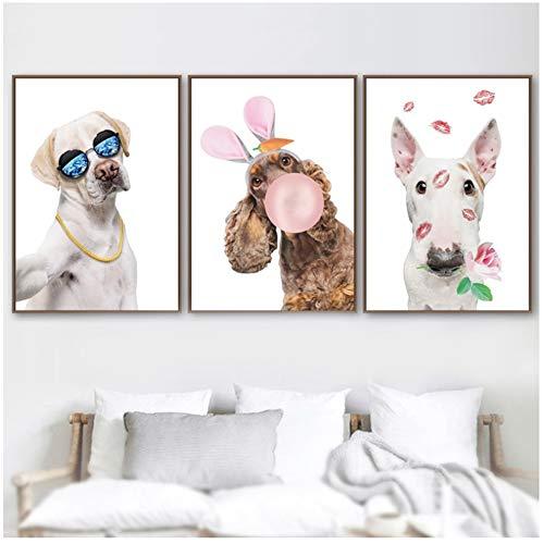 ZHANGSHAIFFBH Canvas Schilderij Kids Kamer Decor Cartoon Grappige Hond Ballon Muur Beeld Nordic Posters En Prints Dieren Voor Woonkamer