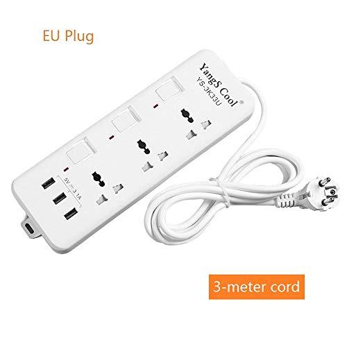 Qnotici Zócalo eléctrico Estación de Carga Hub Tira de alimentación versátil con Puertos USB Conmutado Individualmente 250V, 10A, Cable de 3 Metros Enchufe de la UE