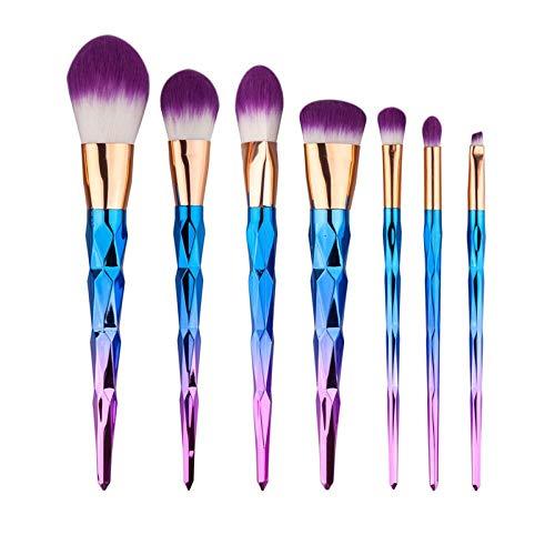 MEIMEIDA Maquillage Pinceaux Set Couleur Gradient Poignée Spirale Cosmétiques Maquillage Outils Poudre Contour Foundation Brush Kit, Bleu