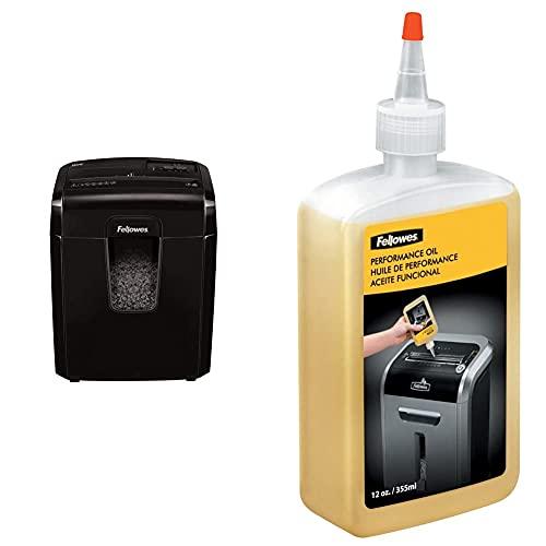 Fellowes 8Mc Destructora trituradora de papel, corte en Micropartículas, 8 hojas, negro + Aceite lubricante...