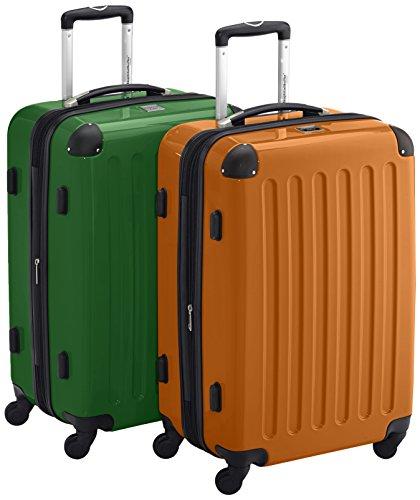 HAUPTSTADTKOFFER - Alex Kofferset - 2 x mittelgroßer Koffer Hartschalentrolley mit Erweiterung und TSA-Schloss, 55 cm, 42 Liter, Grün Orange