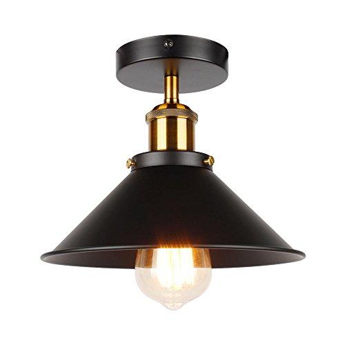 ASCELINA Vintage Retro Ceiling Lights for Living Room Loft Industrial Decor Luminaire Led Ceiling Lamp Metal Kitchen Fixtures (Black) …
