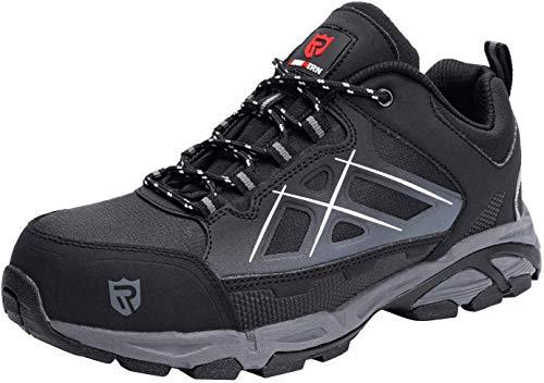 LARNMERN Zapatos Seguridad con Punta de Acero para Hombre Mujer Zapatillas Seguridad Ligeras (44 Negro)