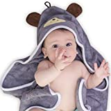 Premium Hooded Baby Towel, Organic Bamboo, with Baby Bib or Gloves,, 35x35 for Newborns Infants Toddlers & Kids, for Boys and Girls at Bath Pool/Beach, Better Than Cotton(Gray)