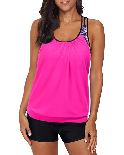 Yonique Blouson Tankini Swimsuits for Women Athletic Two Piece Strappy T-Back Bathing Suits with Boy Shorts Pink L