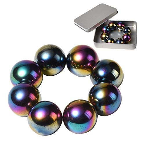 NICO SEE WONDER 1Inch 25mm Rainbow Magnetic Balls, 8Pcs Sphere Magnets Fidget Toys with Box, Hematite Magnetic Rattlesnake Egg.