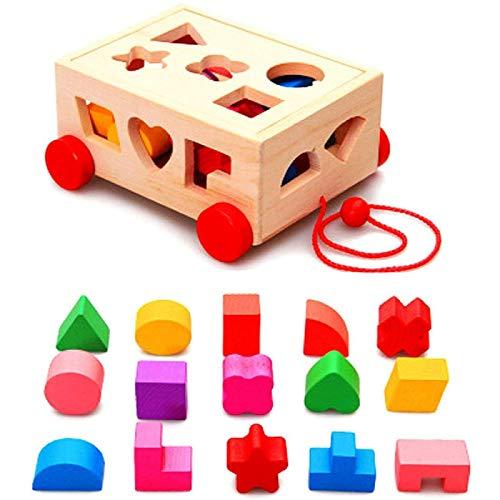 ZHANG Juguetes De Bloques De Construcción Tren De Apilamiento De Madera Juego De Actividades De Cubos Habilidades Educativas Aprendizaje Regalo Preescolar para Niños Pequeños De 2 A 4 Años