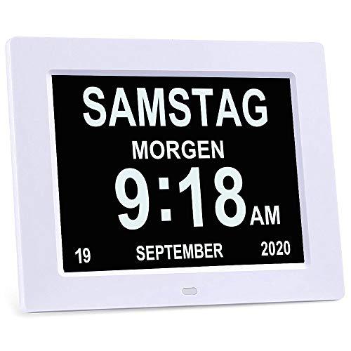 """YKal 8""""Zoll LCD-Digitaluhrkalender mit Datum, Tag und Uhrzeit, Nicht abgekürzte Uhr, automatisches Dimmen 8 Sprachen HD-Display-Erinnerung für ältere Alzheimer-Kinder und Kinder (Weiß)"""