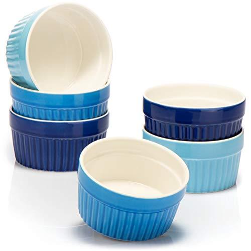 COM-FOUR® 6x Ceramik ramekins för matlagning - Ugnssäkra souffléfat - Creme brulee keramiska skålar 200 ml - Ramekins i olika blå nyanser