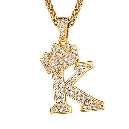 Richsteel Colgante Letra k Oro colgnates Mujer Letra Colgante de Letra Dorada Hip Hop Rap Regalo