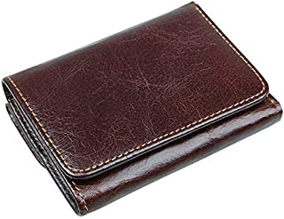 Mens Leather Bag Fashion RFID Blockade Leather Short Wallet Men's Solid Card Holder Wallet Casual Fashion Bag (Color : Deep Coffee, Size : S)