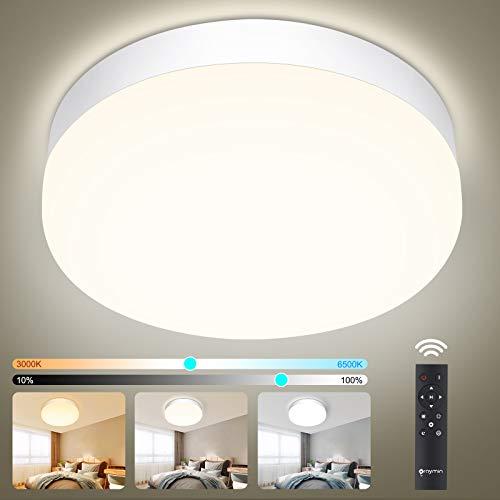 LED Lámpara de Techo Dimmable con Control Remoto, Oraymin 18W 1800LM LED Pláfon Regulable 3000K-6500K, IP54 Impermeable Luz de Baño Dormitorio Sala de Estar Pasillo Cocina