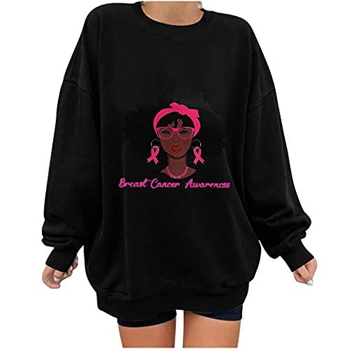 Wave166 Jersey monocolor para la campaña de sensibilización del cáncer de mama con Ribbon y Avatar, estampado gráfico de manga larga, cuello redondo, moda casual para mujer, Negro , S