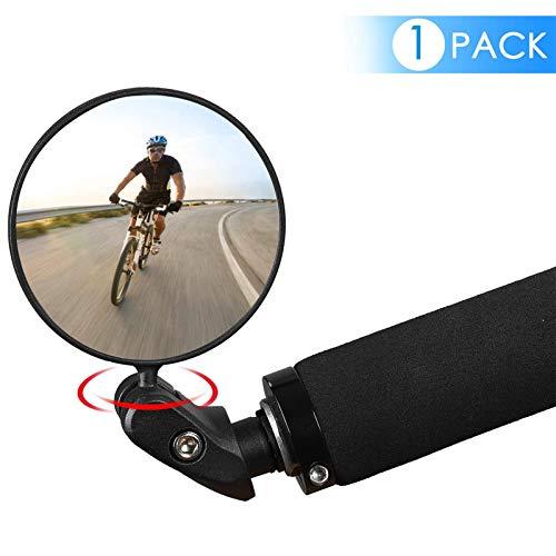 Espejo de Bicicletas, HD Convexo Caja Fuerte Vista Trasera Espejo de Ciclismo, rotación de 360 ° Espejo Universal de Gran Angular Ajustable para Bicicletas de Carretera de montaña (1 PCS)