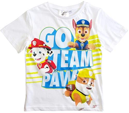Paw Patrol - Helfer auf Vier Pfoten T-Shirt Jungen Kurz (Weiß, 110-116)