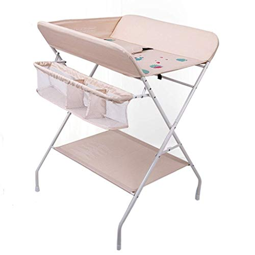 N/Z Table d'équipement de Vie Table de bébé sur Roues Unité de rehaussement Pliante multifonctionnelle Station de Rangement de Commode pour bébé de Chambre d'enfant (Couleur: Rose)