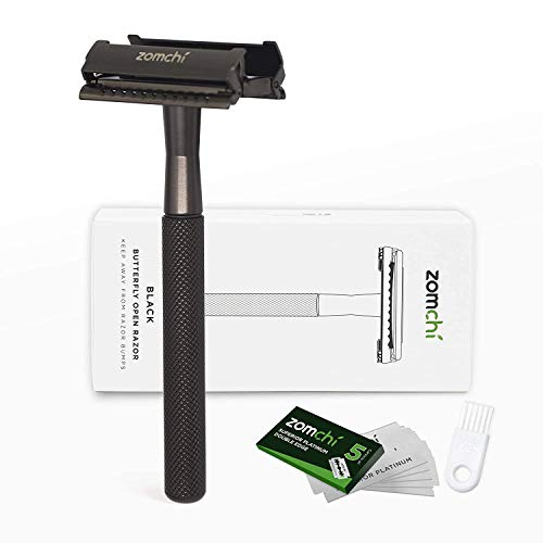 Butterfly Open Razors for Men or Women, Safety Razor with 5 Blades, Shaving Razor with a Delicate Box, Fits All Double Edge Razor Blades(Black)