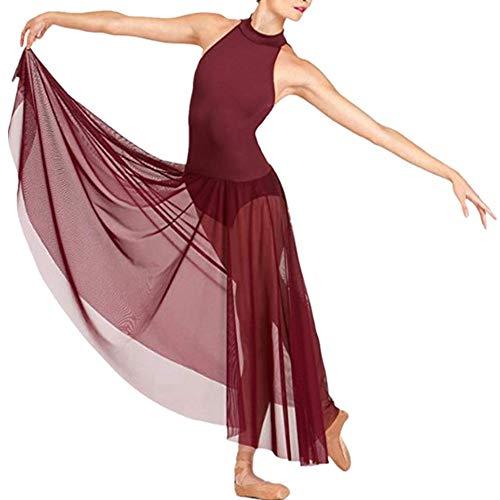 Freebily Vestido Largo de Danza Contemporanea Ballet Mujer Maillot Gimnasia Clásico Adultos Bodys Básico Leotardo con Tutú Falda Mallas Deportiva Niñas Burgundy Large