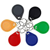 LIBO RFID Llaveros Tarjeta llave inteligente NFC RFID Control de Acceso Keyfobs Proximidad 13.56 MHz MF Classic 1k IC S50 Token Solo lectura (10, Multicolor)