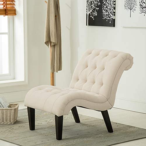 Best Modern Accent Lounge Chair with Linen upholstered Armless Accent Chair for Living Room, Lvory