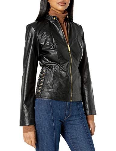 True Religion Damen LACE UP Moto Jacket Kunstlederjacke, schwarz, X-Small