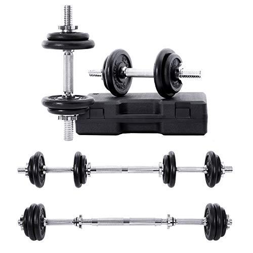 SONGMICS Kit haltères musculation, avec Boîte de rangement et Barre d'extension, Poids ajustable, 20 kg, pour Hommes et Femmes, Musculation, Prise de masse à la maison, 1 Paire, SYL20LBK