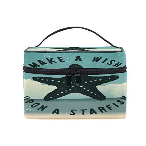 Trousse de maquillage - Étoile de mer océan - Grand étui de rangement avec poignée de voyage - Cadeau idéal pour adolescente, fille, femme