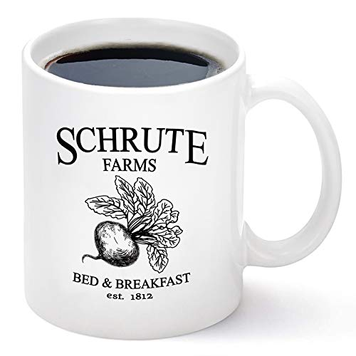 Schrute Farms Mug Schrute Farms Bed And Breakfast Est. 1992 The Office Coffee Mug The Office Gifts for Men Women Funny Coffee Mug Cup 11 Ounce White