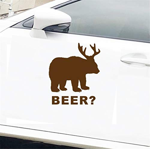 Tattoo Auto Aufkleber Deko Bär + Reh = Bier? Fenster Stoßstange Aufkleber Heckklappe LKW Jagd lustige 12,5 x 15 cm für Auto Laptop Fenster Aufkleber