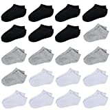20 Pairs Toddler Kids Socks Half Cushion Low Cut Ankle Socks Boy Girl Athletic Socks (White,Black,Grey, 4-6 Years)