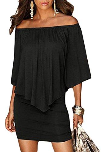 Sidefeel Women Plus Size Off Shoulder Ruffles Clubwear Mini Dress XX-Large Black