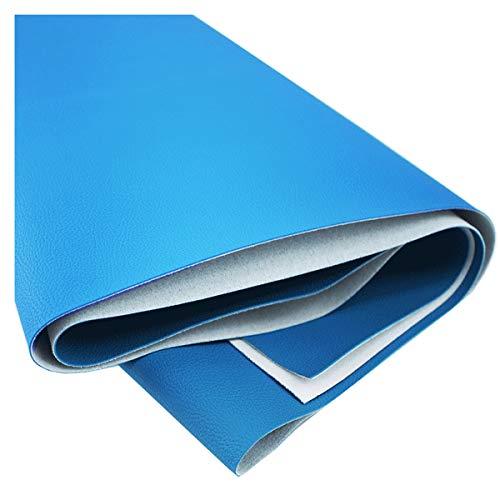NIANTONG Azul Vinilo Tela de Polipiel para Tapizar 140x100 Cm Patrón de Litchi para Coser Manualidades, Tapicería de Sillas Y Sofás, Manualidades de Bricolaje, 1,2 Mm De Grosor