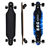 Clyctip longboard skateboard 43' x 22,8 cm tabla longboard de baile de arce, hecho para adultos, niños/niñas/jóvenes, carga máxima de 199,6 kg, 9 capas de arce (blue-flame)