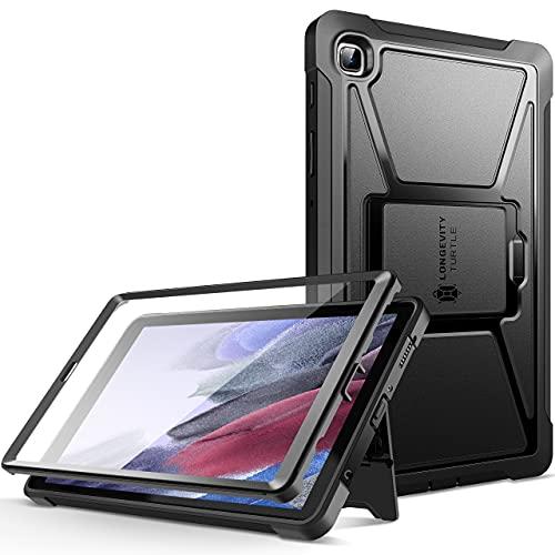 ZtotopCases Hülle für Samsung Galaxy Tab A7 Lite 8.7 Zoll 2021(SM-T225/T220), Eingebaut Displayschutzfolie, Dual Schicht Stoßfest Voll Schützend Abdeckung mit Ständer, Schwarz