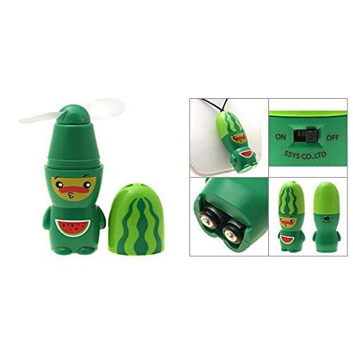 Camisin R Ventilador de refrigeración portátil con patrón de sandía alimentado con batería verde