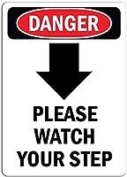 おかしいパブの家の装飾アルミ金属サイン、あなたのステップを見てください[下矢印]、壁サインおかしい鉄絵ヴィンテージ金属プラーク装飾警告サイン吊りアートワークポスターバーパーク