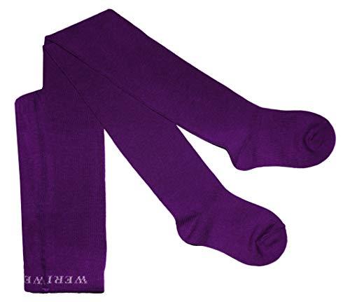 Weri Spezials Baby und Kinder Strumpfhose für Mädchen und Jungen, UNI Glatt in 19 tollen Farben (110-116, Violett)