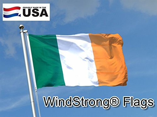 3x5 FT (Double Sided) Ireland Irish WindStrong® Flag (Sewn Stripes) Deluxe Outdoor SolarMax Nylon Flag Made in the USA