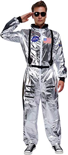 Adult Astronaut Costume Jumpsuit Silver Space Suit for Men with Embroidered Patches and Pockets (Large)