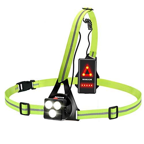 ランニングライト 反射バンド チェストライト SGODDE ジョギングライト 500ルーメン USB充電 IPX4防水 3つの点灯モード 警告灯 夜間 ランニング ジョギング ハイキング 腰 ライト 超軽量 (蛍光)