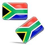 Biomar Labs® 2 x Aufkleber 3D Gel Silikon Stickers Südafrikanische Flagge Südafrika African Fahne South Africa Nationalflagge Flag ZA Auto Motorrad Fahrrad Fenster Tür PC Tablet Laptop F...